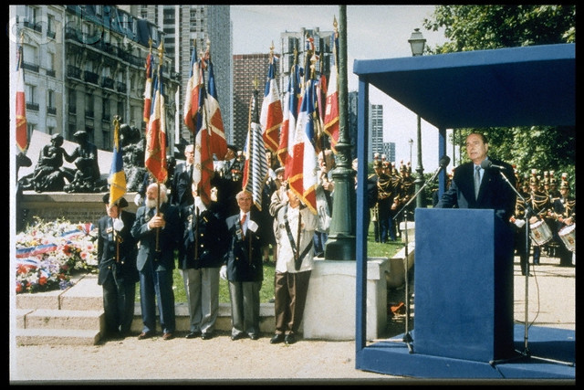 May 16, 1995. Jacques Chirac at the Vel d'Hiv in Paris. Image by © Jacques Langevin/Sygma/Corbis