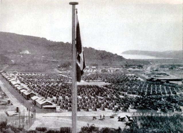 View of the Rab Concentration Camp, with the open-air tents for the inmates. 1942, author unknown. Martyr's path to freedom (Mučeniška pot k svobodi), Ljubljana, 1946