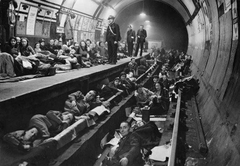 The home front in Britain during the Second World War. The scene at Aldwych tube station 1940. Seventy nine tube stations were used as air raid shelters by Londoners, but they were not proof against a direct hit. Public Domain, Imperial War Museum Archives.