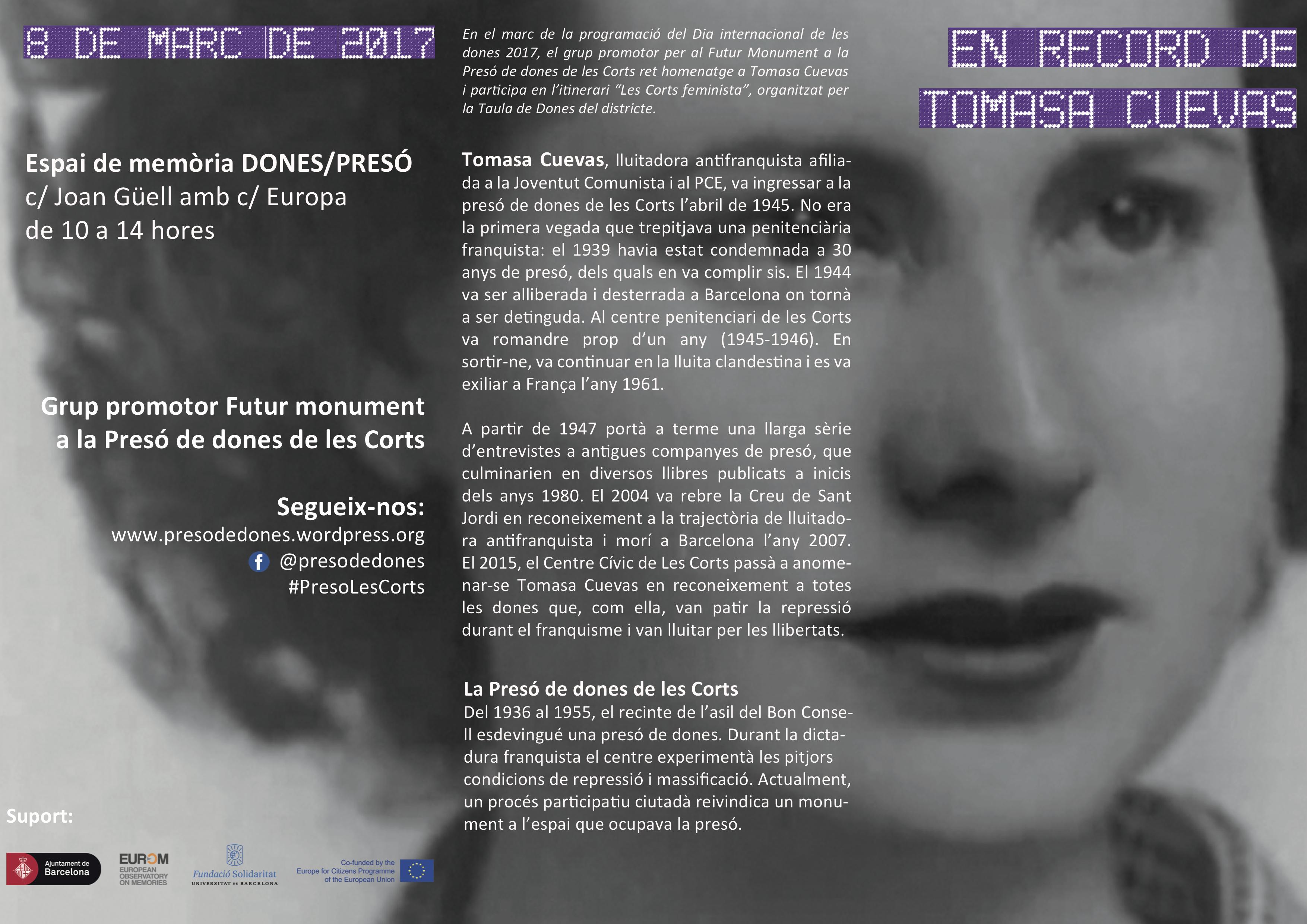 Tomasa Cuevas - 8 de març 2017 - Les Corts