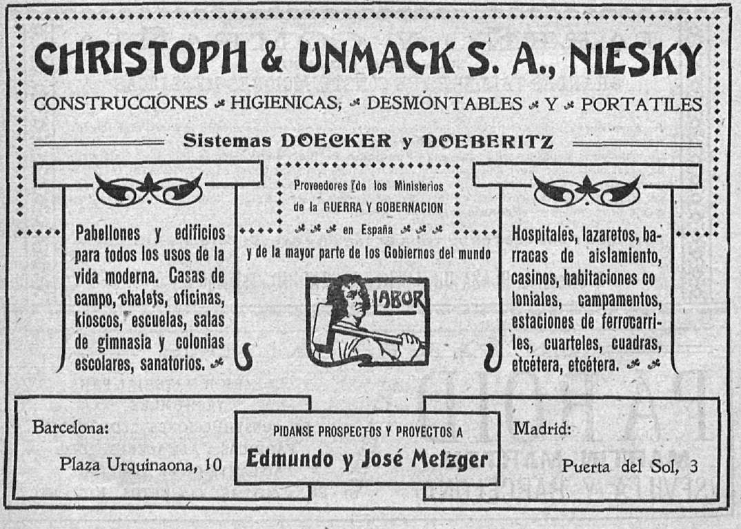 Announcement of the trademark of the Metzger brothers, the well-known Labor, 1910 | Biblioteca Nacional de España (BNE). Biblioteca Digital Hispánica.