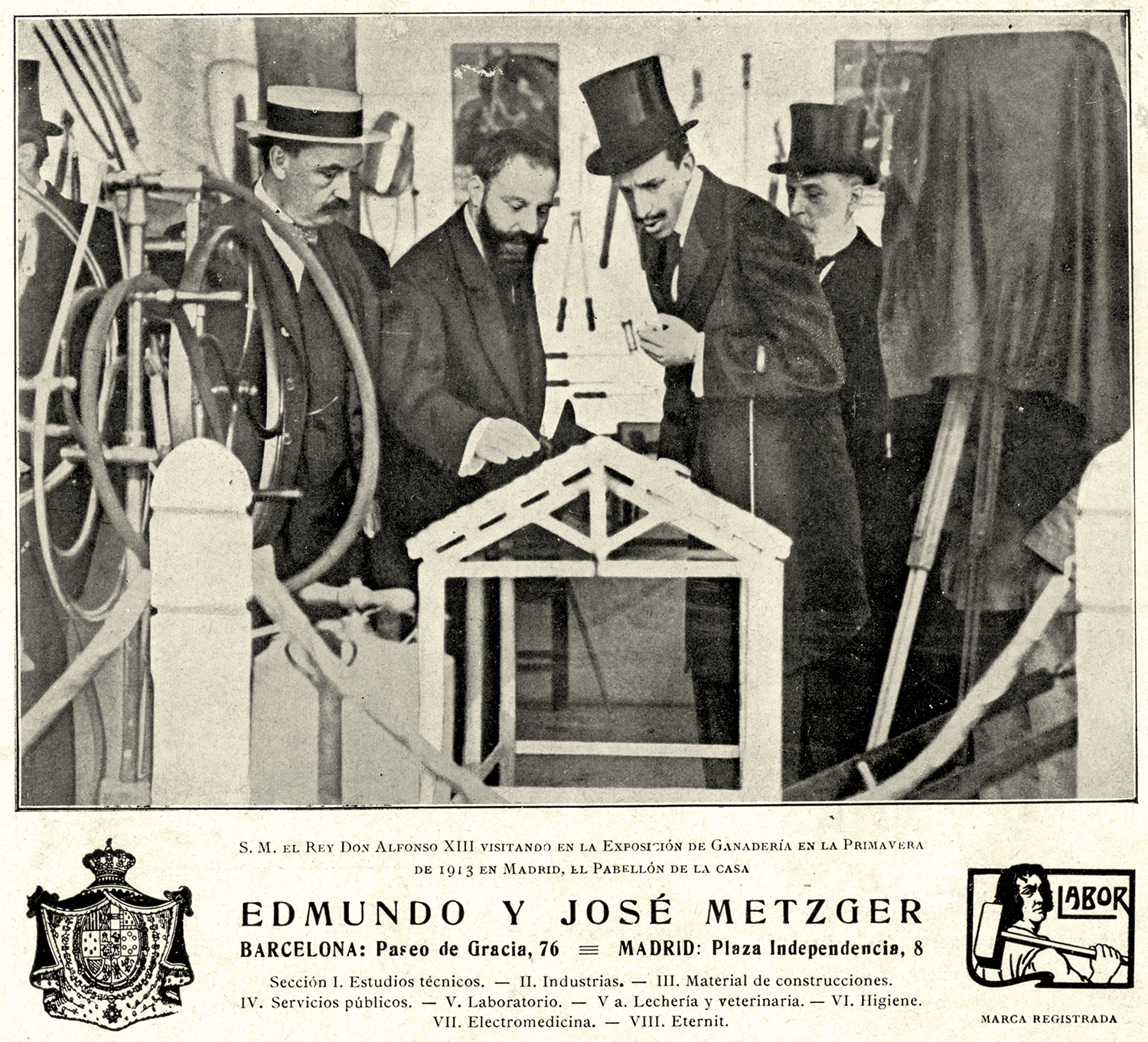 The Metzger brothers showing Labor machinery to the monarch Alfonso XIII, 1920 | Biblioteca Nacional de España (BNE). Biblioteca Digital Hispánica.