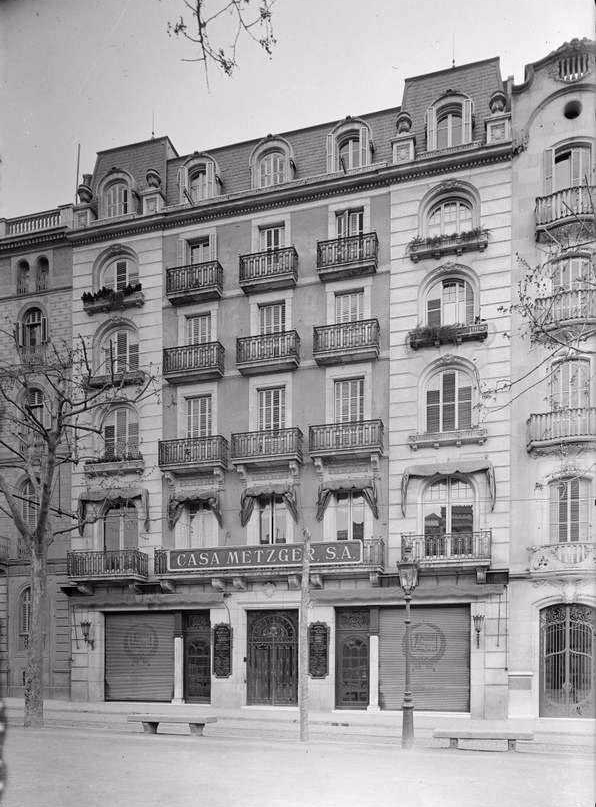 Headquarters of the House Metzger S.A., Passeig de Gràcia, 76, Barcelona, 1910. Unkown authorship | Manu Valentin Archive