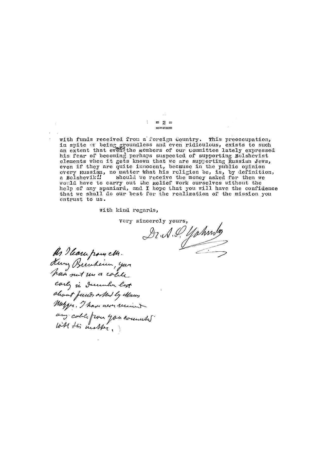 Carta d'Abraham Yahuda a Albert Lucas, secretari de l'American Joint Distribution Committee, 1919 | JDC Archives