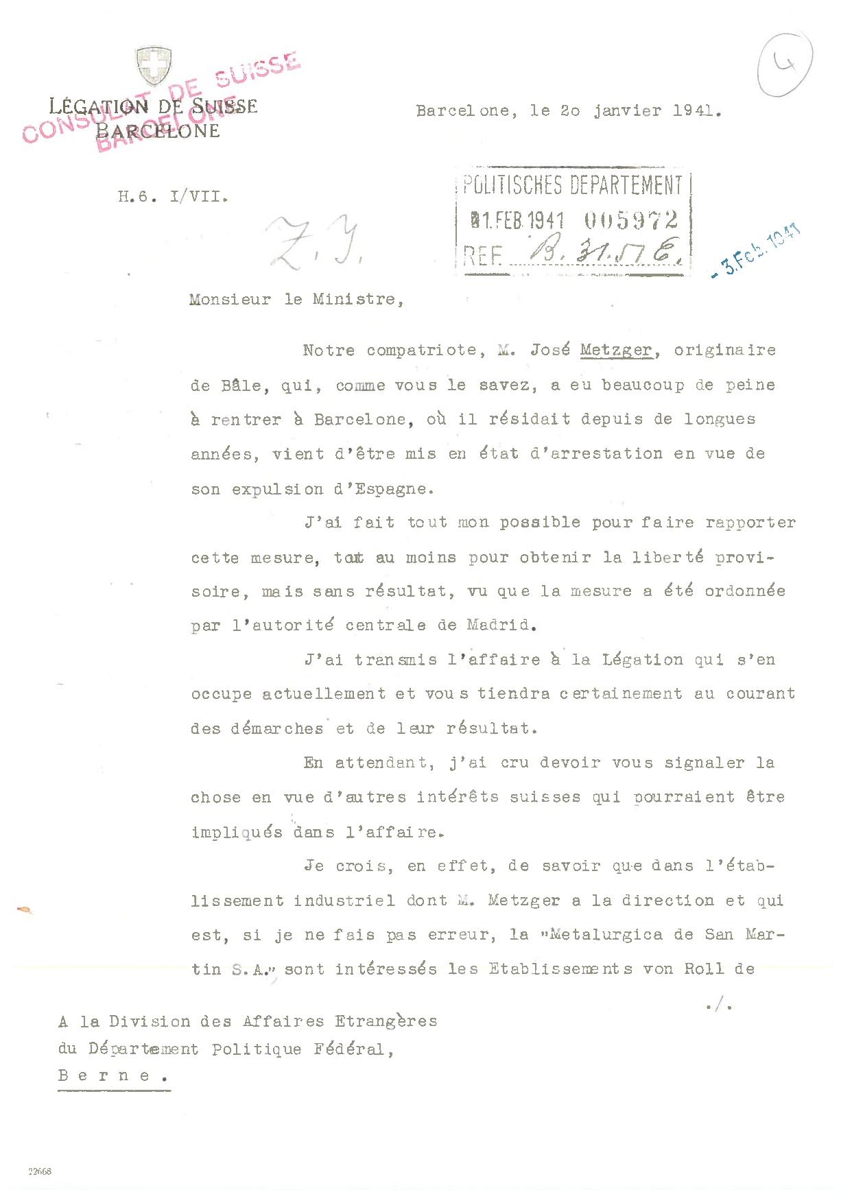 On February 14, 1941 the Swiss embassy in Madrid sends a letter to the Foreign Policy Division of the Federal Political Department in Bern, responding to requests made by José Metzger | Archive of the General Consulate of Switzerland in Barcelona