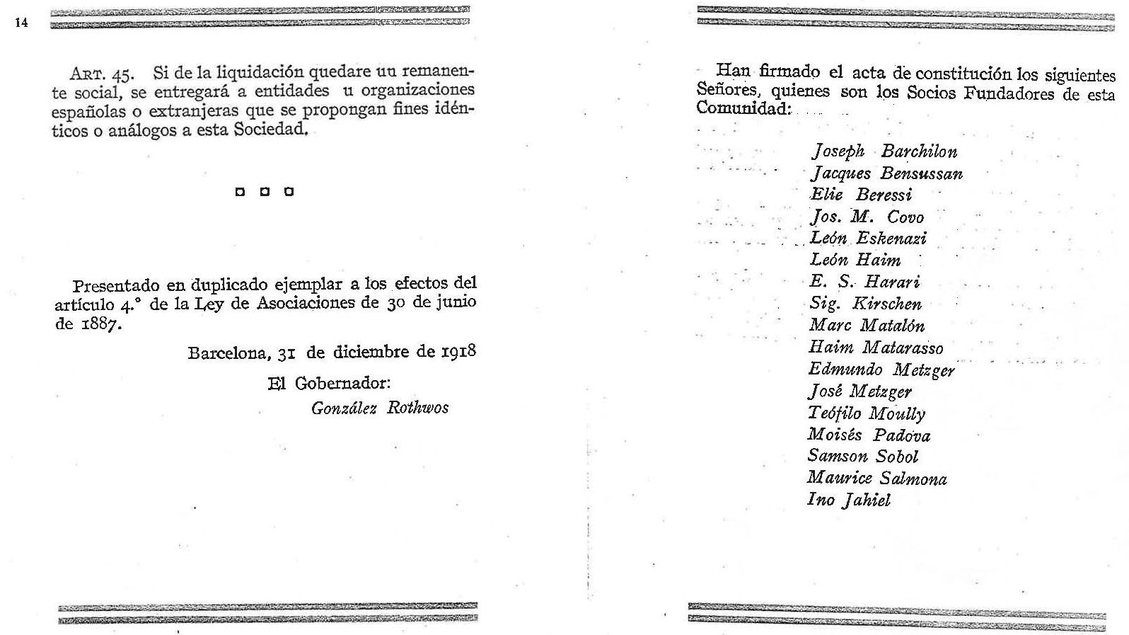 Acta fundacional de la Comunitat Israelita de Barcelona (CIB), 31 de desembre de 1918. Font: Arxiu de la Comunitat Israelita de Barcelona (CIB).
