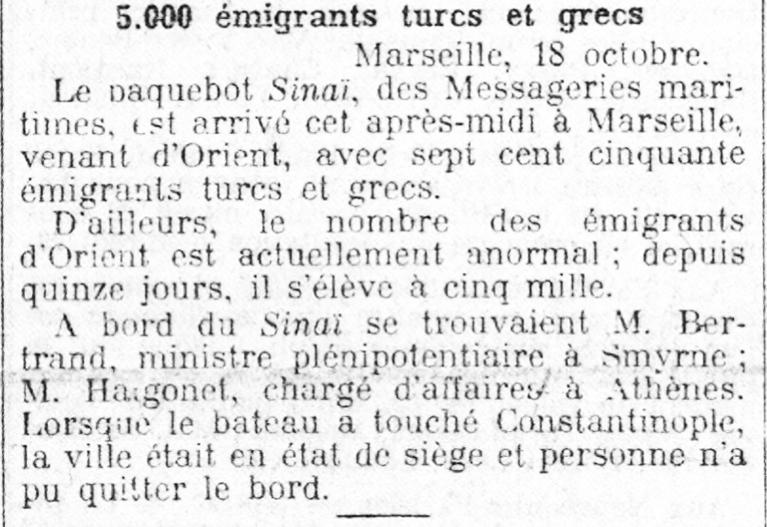El 19 d'octubre de 1912 el diari francès Le Petit Parisien anuncia l'arribada de cinc mil immigrants turcs a el port de Marsella | Gallica - BnF