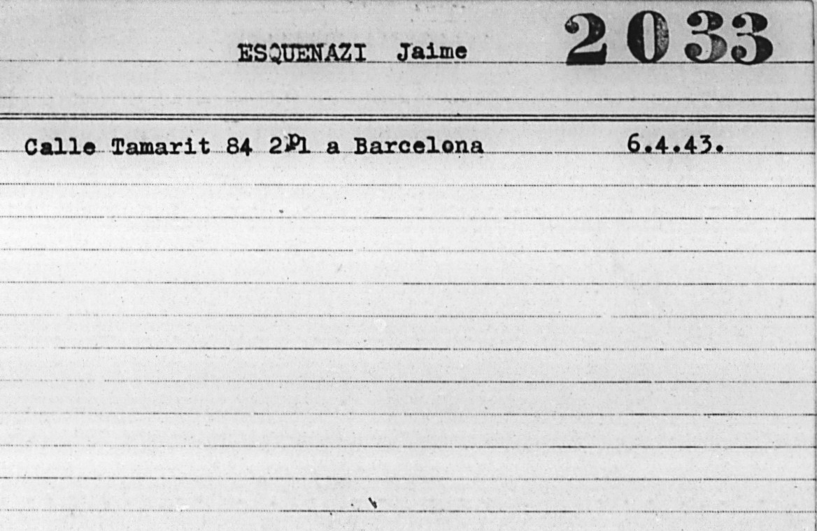 Fitxa Jaime Esquenazi a l'American Jewish Joint Distribution Committee | Jewish Displaced Persons and Refugee Cards, 1943-1959 | JDC Archives