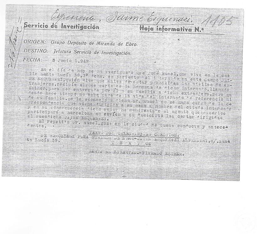 Fact sheet of Jaime Esquenazi at Miranda de Ebro's Internment camp. June 8,1942 | ES.37274.CDMH/7.7.3.1//TERMC,FICHERO,70,2207655 | Centro Documental de la Memoria Histórica, CDMH
