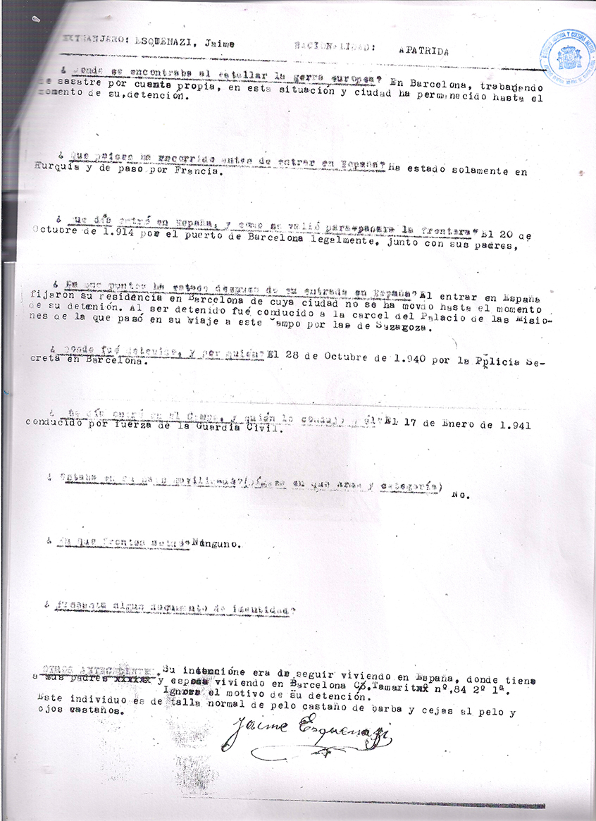 Police report of Jaume Esquenazi | ES.37274.CDMH/7.7.1//TERMC,22644 | Centro Documental de la Memoria Histórica, CDMH