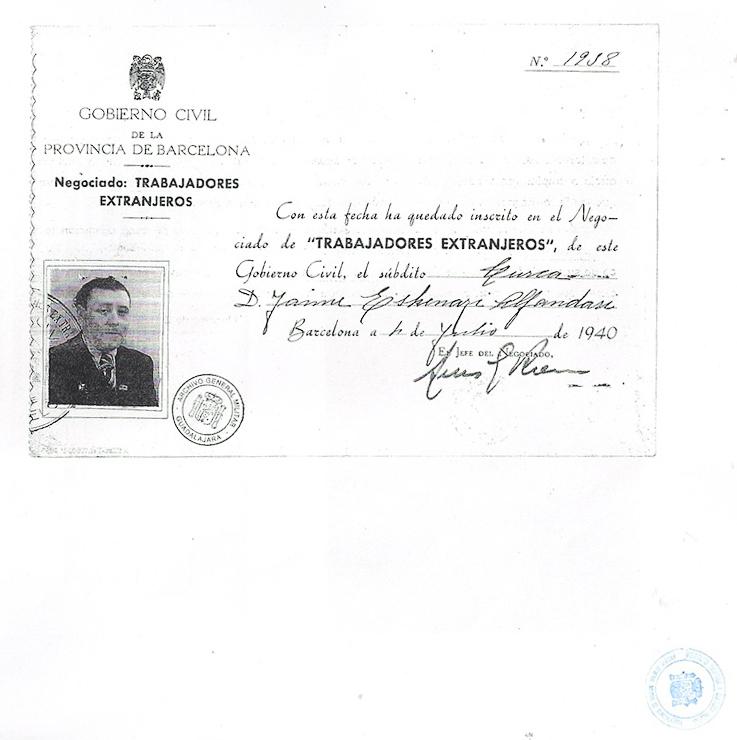 Work license sheet, for foreigners, of Jaime Esquenazi | Centro Documental de la Memoria Histórica (CDMH).