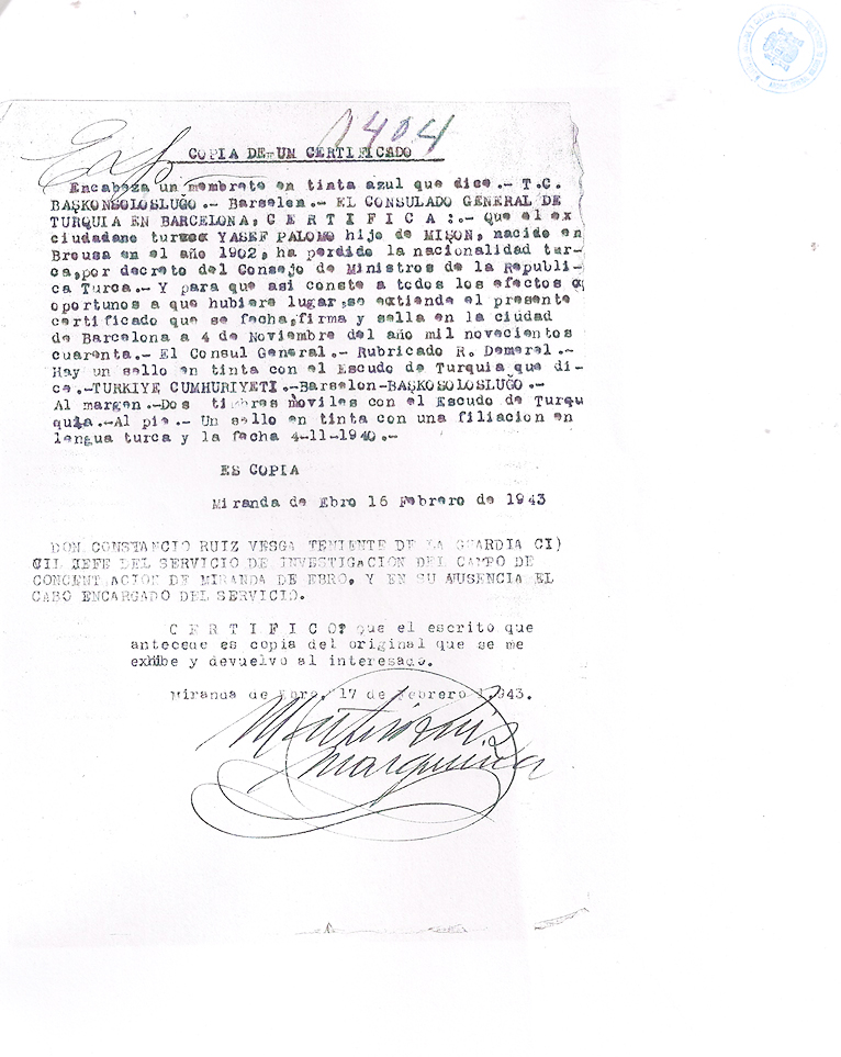 The Turkish Consulate certifies that José Palomo lost the Turkish nationality on February 16, 1943 | Centro Documental de la Memoria Histórica