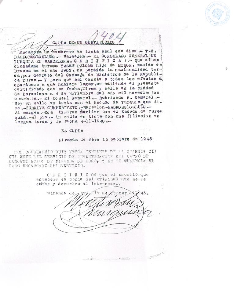 El Consolat Turc certifica que José Palomo ha perdut la nacionalitat turca 16 de febrer de 1943 | Centro Documental de la Memoria Histórica