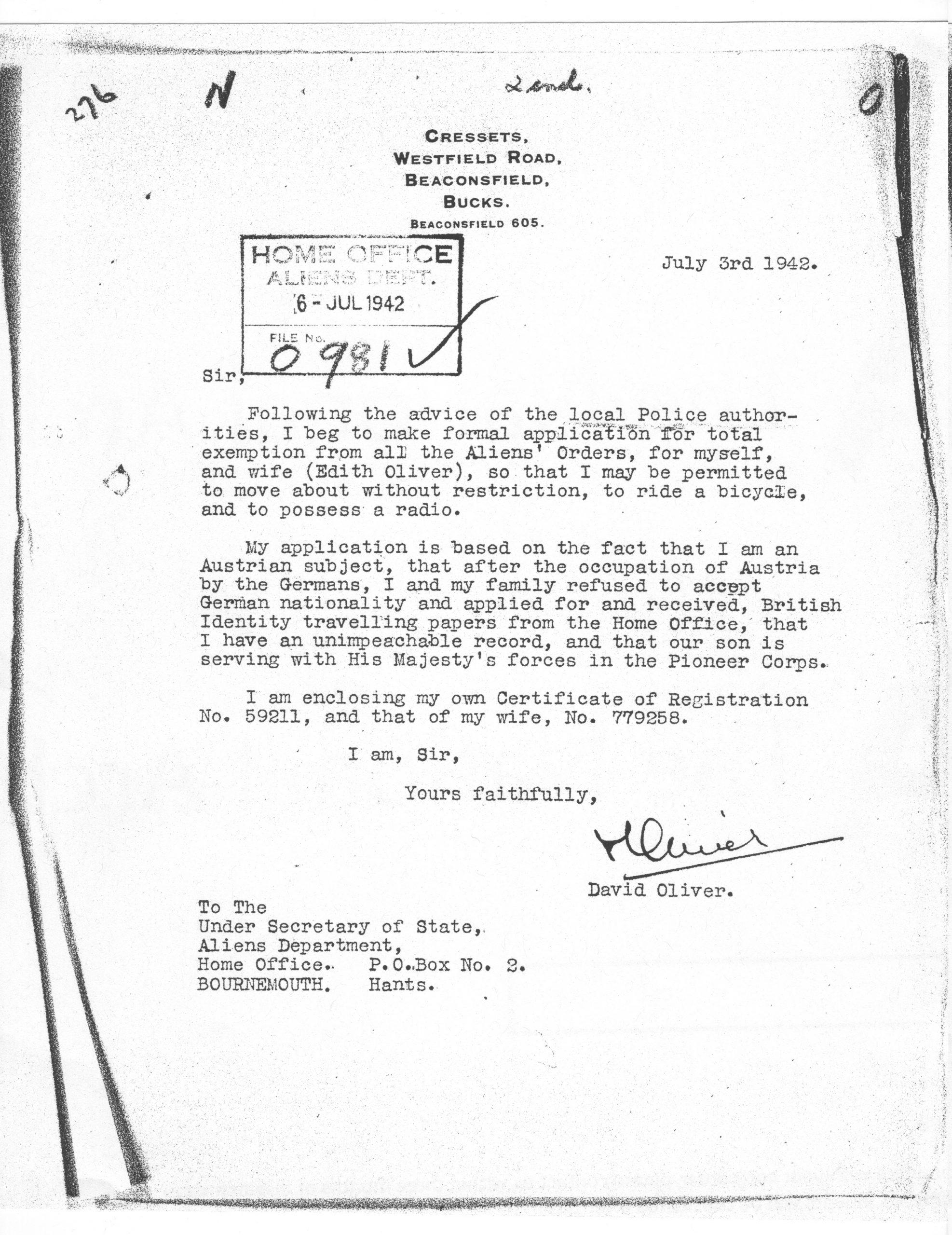 Document del Home Office referent a David Oliver, 1942.