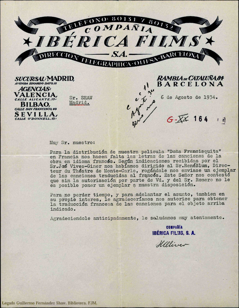 "Letter from ""Ibérica Films"" to Mr. Shaw, 1934."