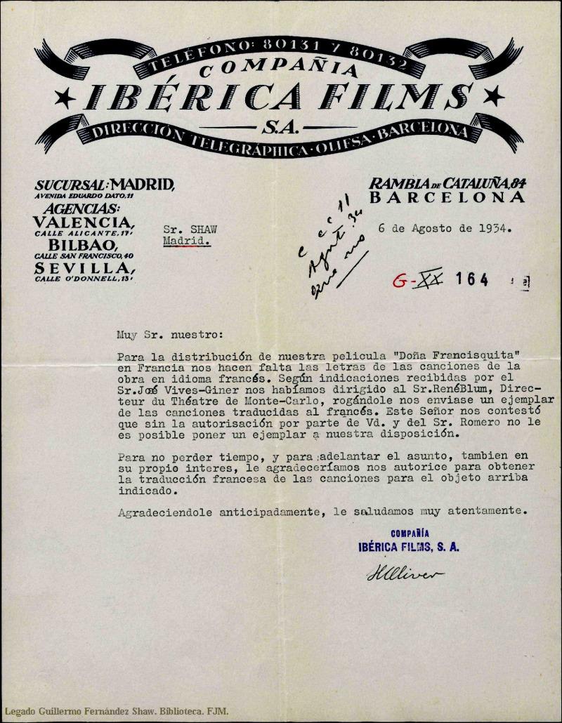 Carta d'Ibérica Films a el senyor Shaw, 1934. Arxiu Manu Valentin.