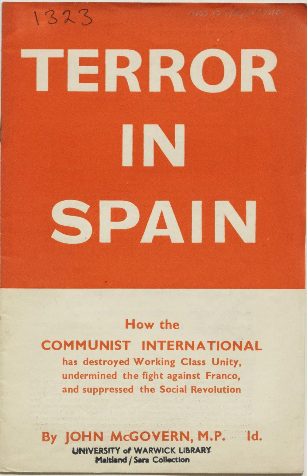 """Portada de """"Terror in Spain"""" de John McGovern."""
