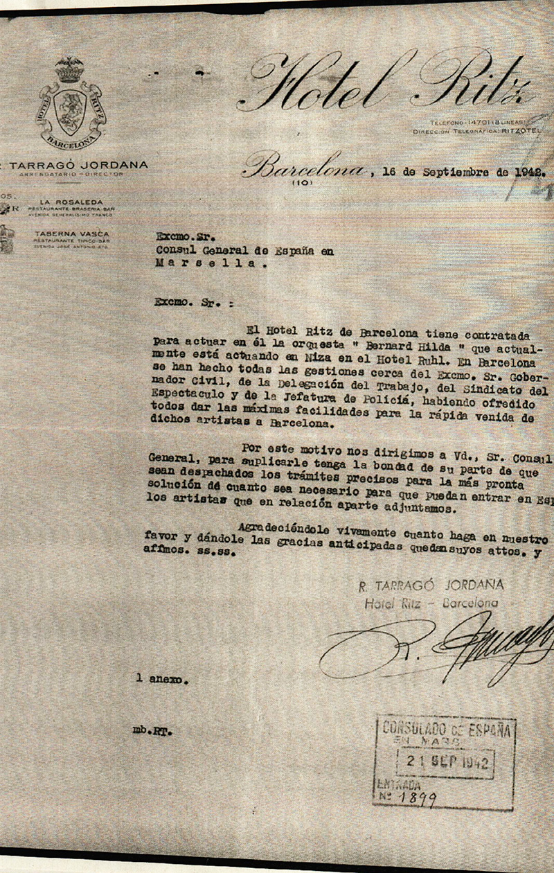 Letter from Ramon Tarragó Jordana, director of the Ritz Hotel in Barcelona, addressed to the Consul of Spain in Marseille, requesting an entry visa to Spain for Bernard Hilda | Archivo General de la Administración (AGA).