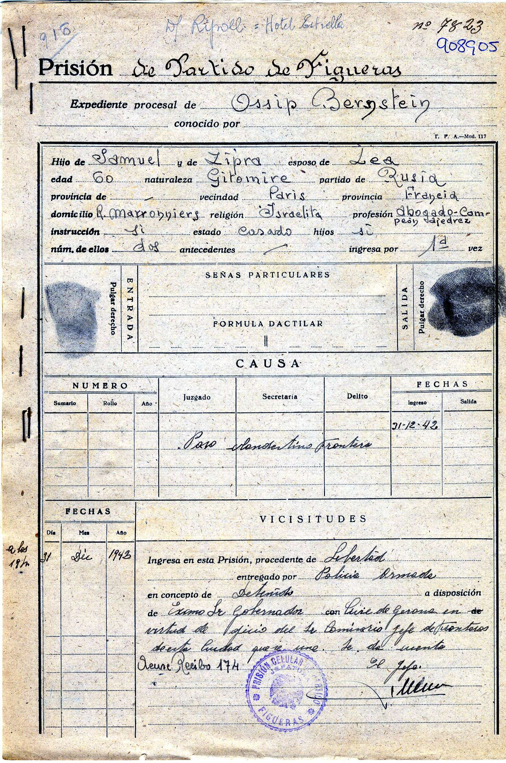 Record of Ossip Bersntein's stay in the prison of Figueres in 1942 | Arxiu Comarcal de l'Alt Empordà (ACAE).