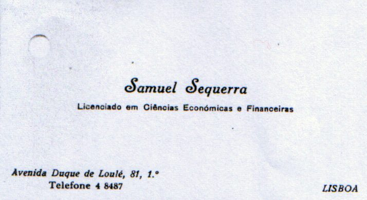 Targeta de visita de Samuel Sequerra, representant del American Jewish Joint Distribution Committee a Barcelona | Josep Calvet.