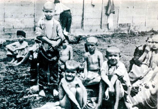 Children inmates at the Rab concentration camp. 1943, author unknown. Martyr's path to freedom (Mučeniška pot k svobodi), Ljubljana, 1946.