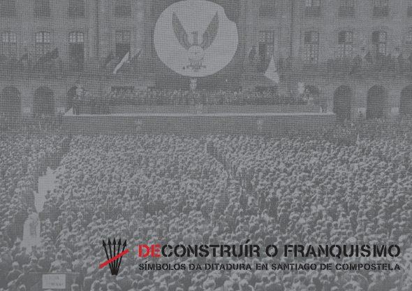 Praça do Obradoiro, 1938. Conmemoración de la Unificación de Milicias. El Eco fransciscano.