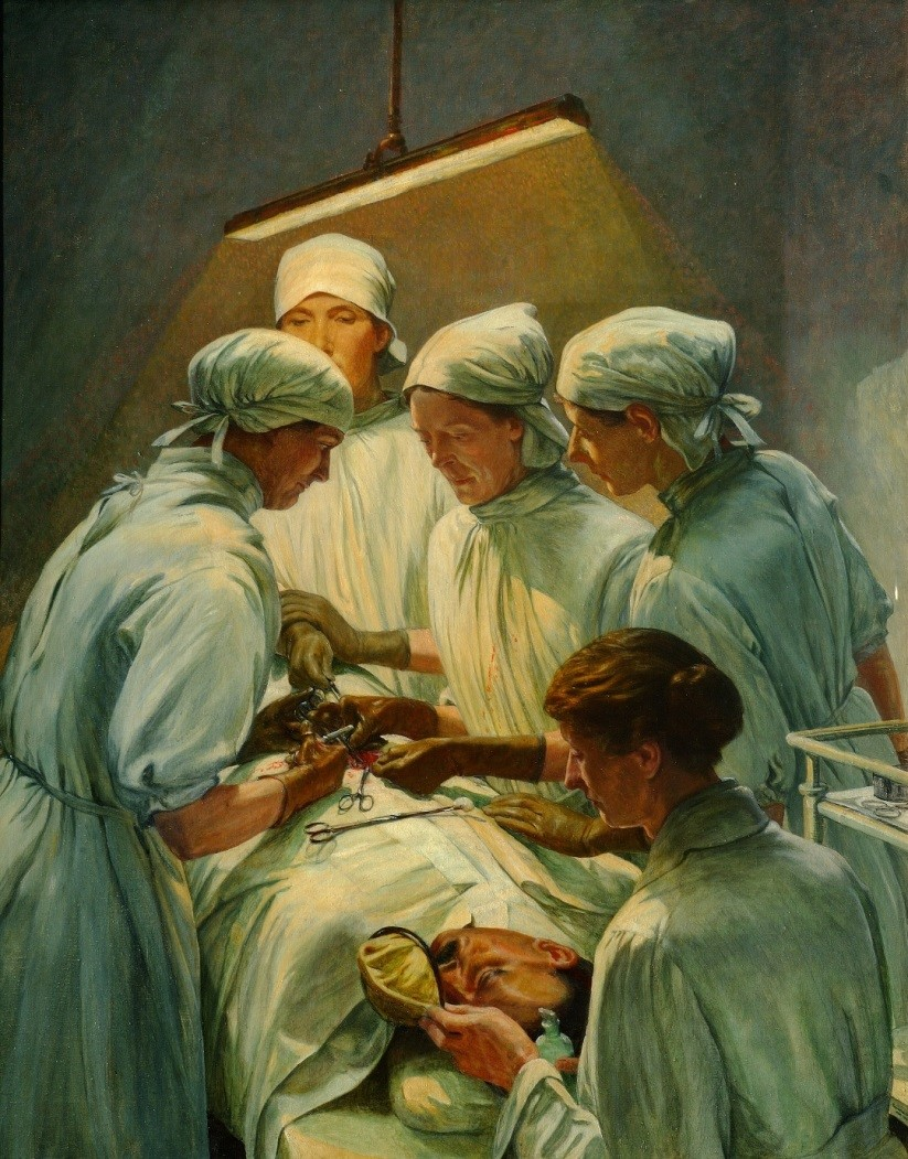 Surgery at Endell Street Military Hospital. Painting by Francis Dodd, 1920. © IWM (ART 4084)
